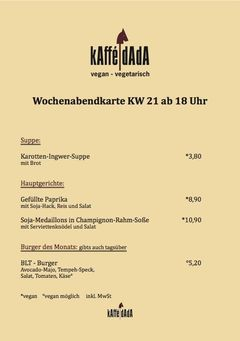 A menu of kAffé dAdA