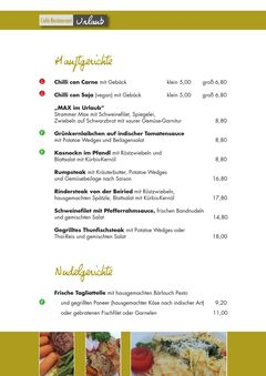 A menu of Urlaub