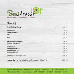 A menu of Seestrasse 14