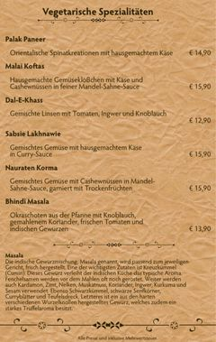 A menu of Taj Mahal