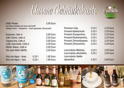 A menu of Kaiserhüttn