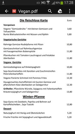 A menu of Uli's Schlemmertreff