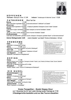 A menu of Café Kraftraum