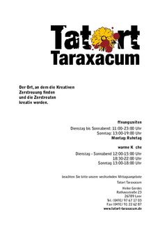 A menu of Tatort Taraxacum