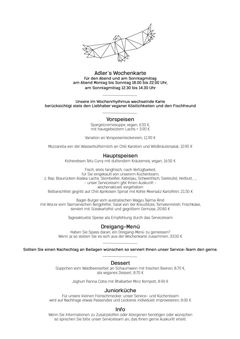 A menu of Restaurant zum Adler