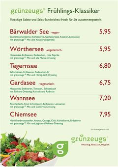A menu of grünzeugs