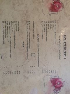 A menu of De Bolhoed