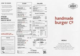 A menu of handmade burger Co.