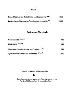 A menu of Nürnberger Hof