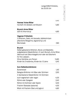 A menu of stadt:cafe