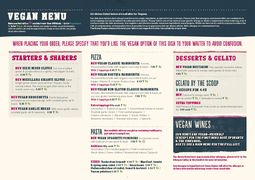 A menu of Zizzi
