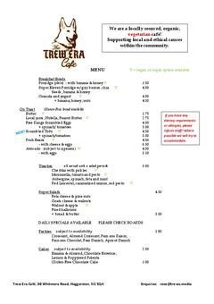A menu of Trew Era Cafe