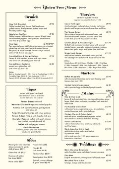 A menu of Cosy Club