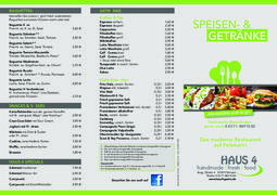 A menu of Haus 4
