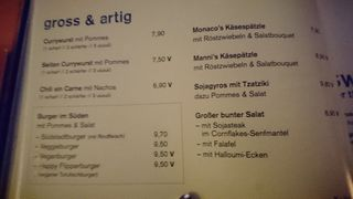 A menu of Südstadt