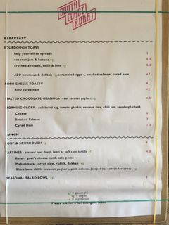 A menu of South Coast Roast