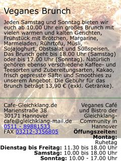 A menu of Café Gleichklang