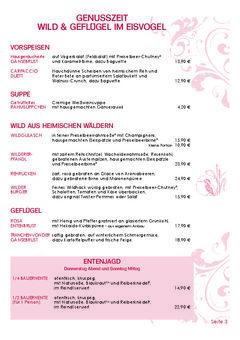 A menu of Eisvogel