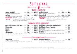 A menu of Zentral Bar
