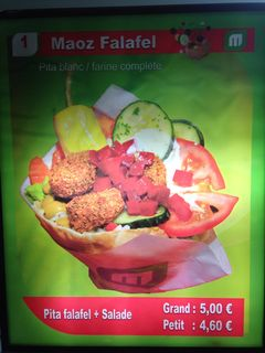 A menu of Maoz Vegetarian