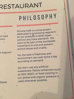 A menu of Nirvana Café