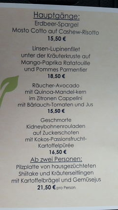 A menu of Die Weinstube