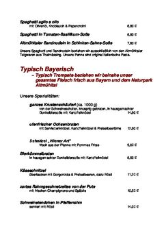 A menu of Braugasthof Trompete