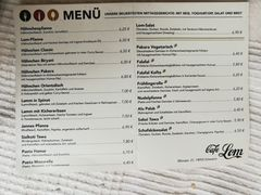 A menu of Café Lom