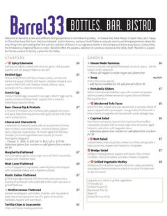 A menu of Barrel33