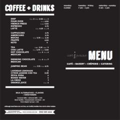 A menu of Café Avalaun