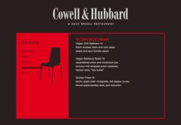 A menu of Cowell & Hubbard