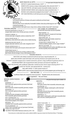 A menu of Crumb & Spigot Tavern