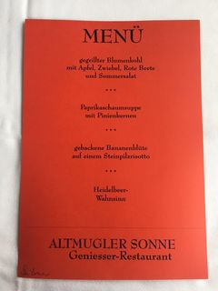 A menu of Altmugler Sonne