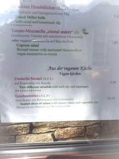 A menu of Hotel Alpendorf