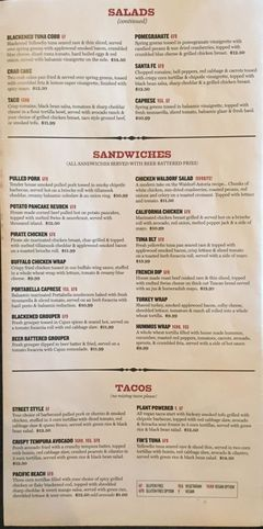 A menu of Rocky River Brewing Co.