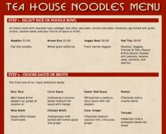 A menu of Tea House Noodles