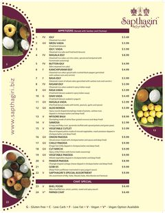 A menu of Sapthagiri