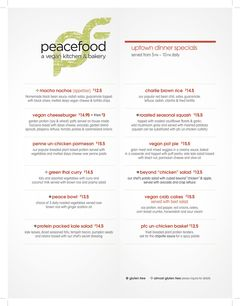 A menu of Peacefood, Amsterdam Avenue