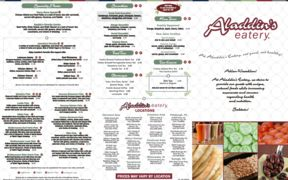 A menu of Aladdin's Eatery