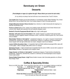 A menu of Sanctuary on Green