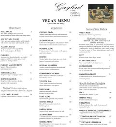 A menu of Gaylord Fine Indian Cuisine
