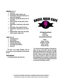 A menu of Angel Hair Café