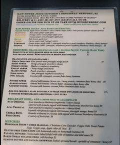 A menu of Raw Power Juice Bar