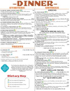 A menu of Pieces Board Game Bar And Restaurant