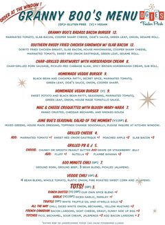 A menu of Ogie's Trailer Park