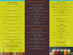 A menu of Raw Bobs Organic Juicery
