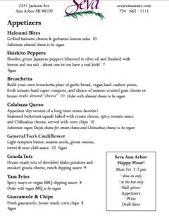 A menu of Seva, Ann Arbor