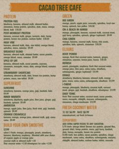 A menu of Cacao Tree Cafe