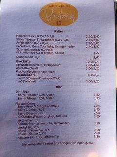 A menu of Hofcafé Peetzen 10