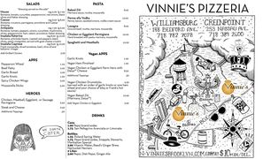 A menu of Vinnie's Pizzeria, Nassau Avenue